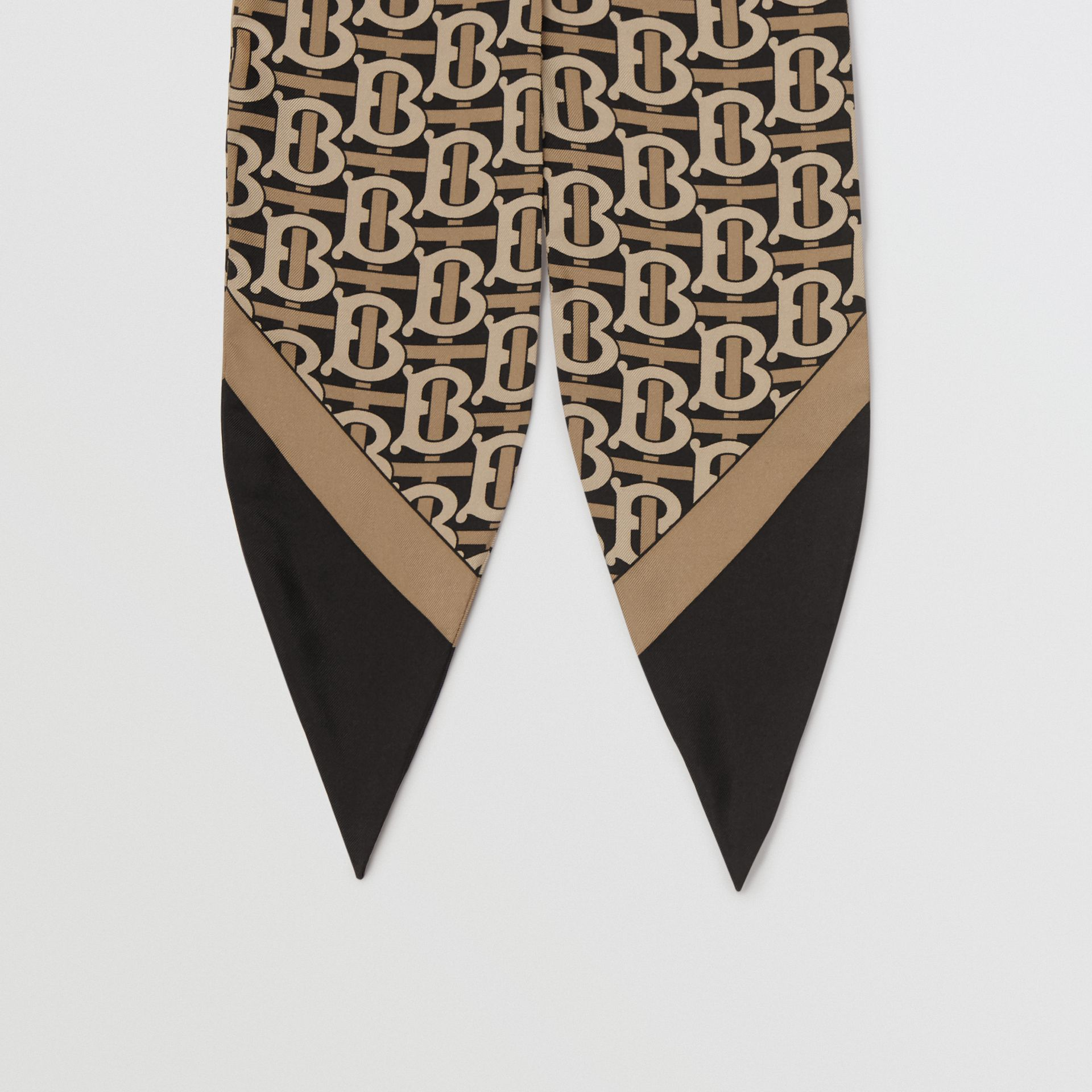 Monogram Print Silk Hair Scarf in Black - Women | Burberry - gallery image 3