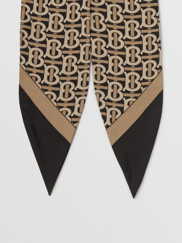 Monogram Print Silk Hair Scarf in Black - Women | Burberry United States - cell image 3