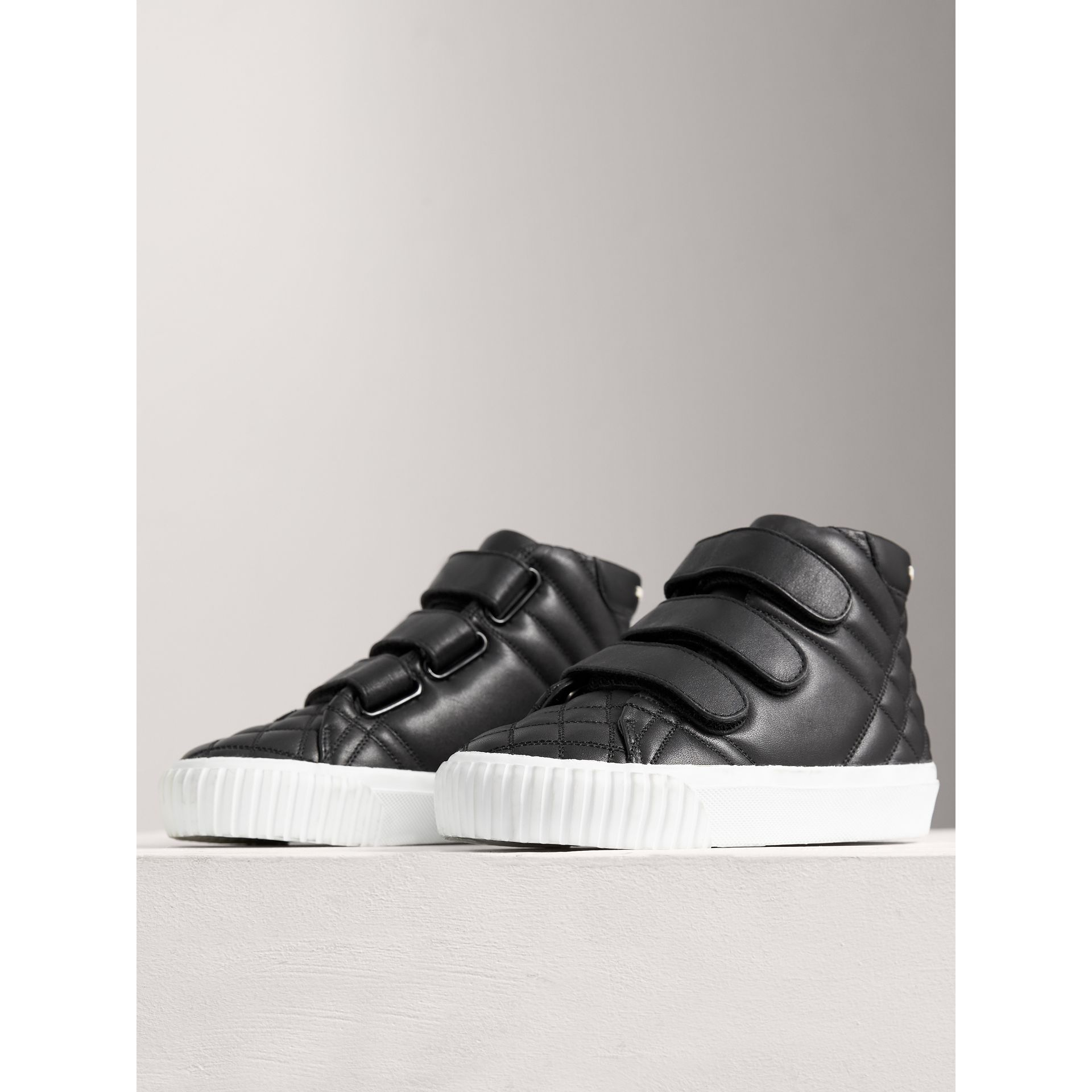 Check-quilted Leather High-top Sneakers in Black | Burberry Australia - gallery image 3
