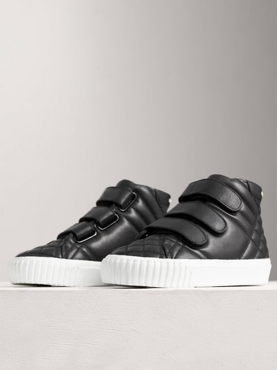 Check-quilted Leather High-top Sneakers in Black | Burberry Singapore - cell image 3