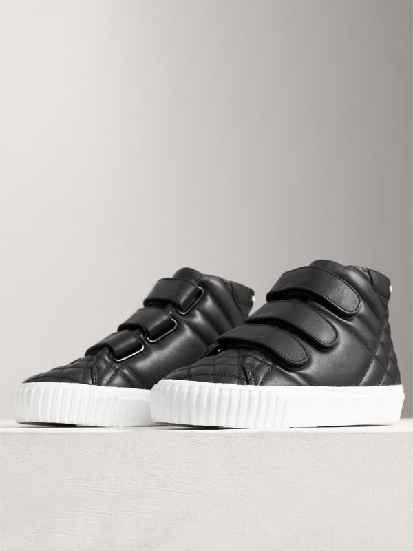 Check-quilted Leather High-top Sneakers in Black | Burberry - cell image 3