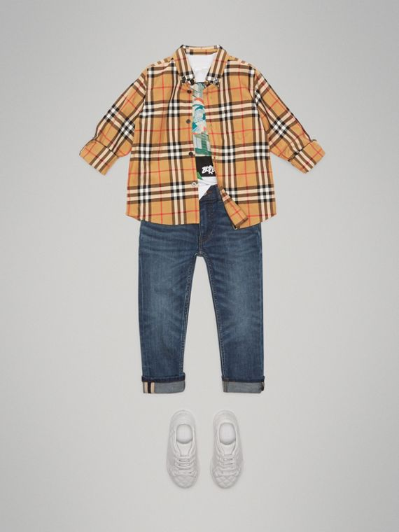 Camicia con motivo Vintage check e colletto button-down (Giallo Antico) - Bambino | Burberry - cell image 2