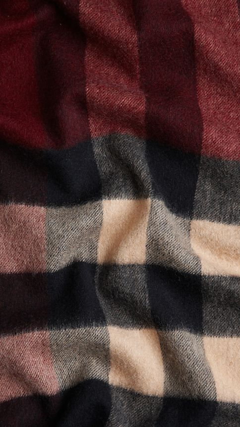 Claret check Giant Exploded Check Cashmere Scarf Claret - Image 5