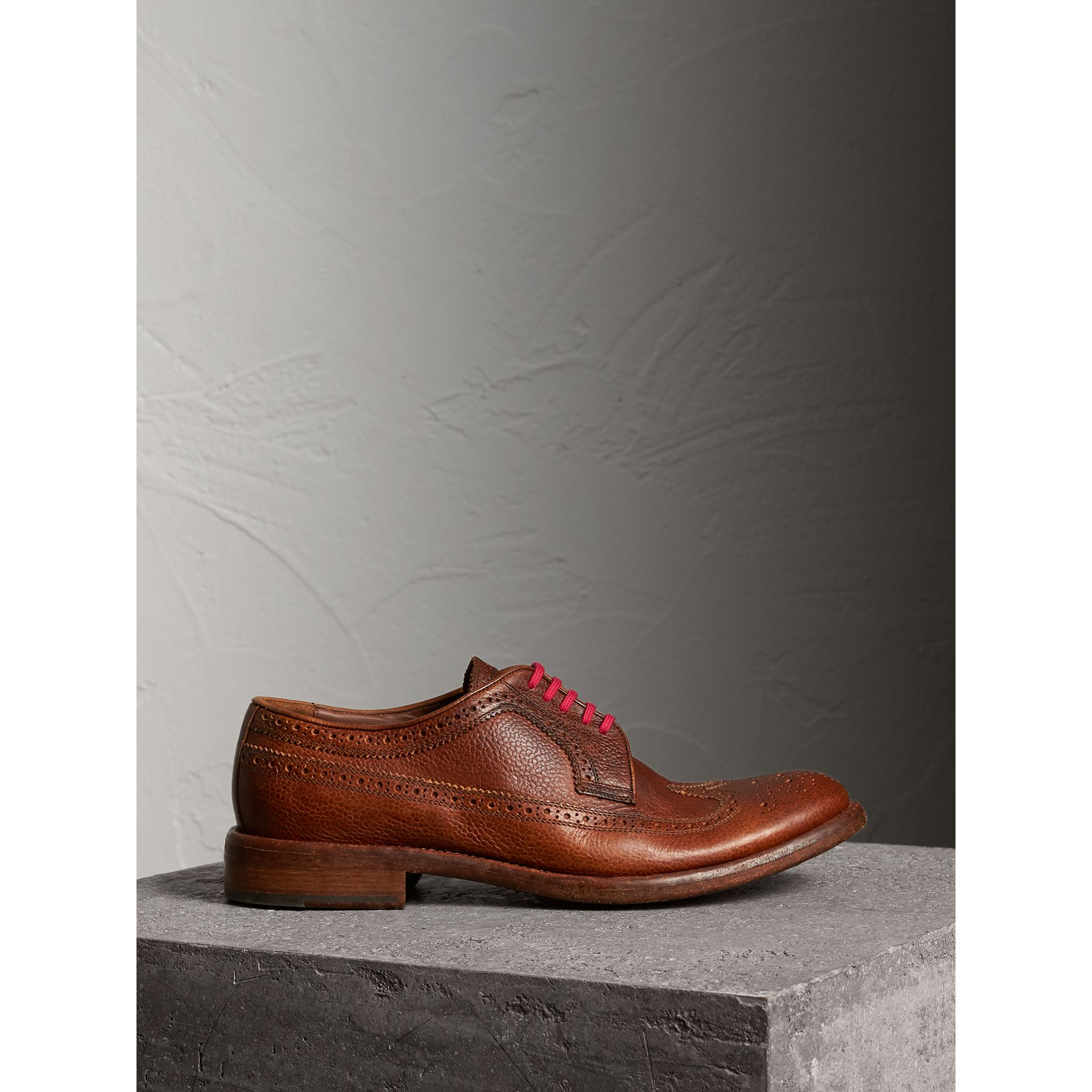 Grainy Leather Brogues with Bright Laces in Vintage Chestnut - Men | Burberry - gallery image 4