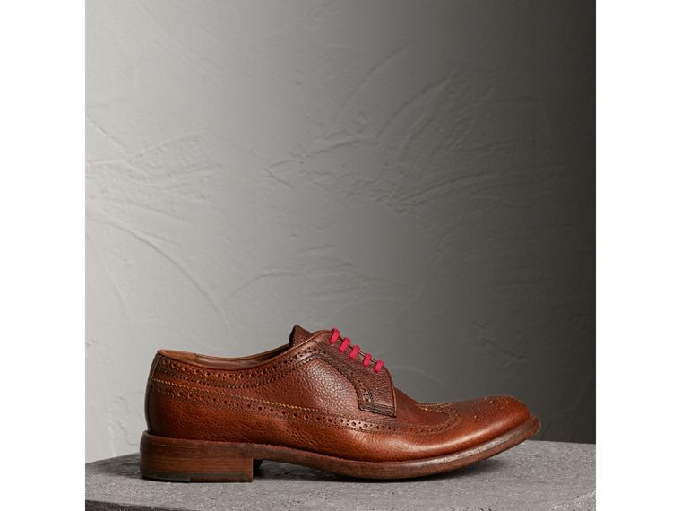 Grainy Leather Brogues with Bright Laces in Vintage Chestnut - Men | Burberry - cell image 4