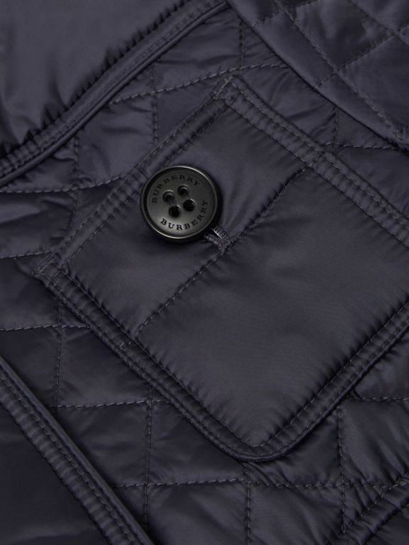Lightweight Diamond Quilted Jacket in Navy | Burberry - cell image 1