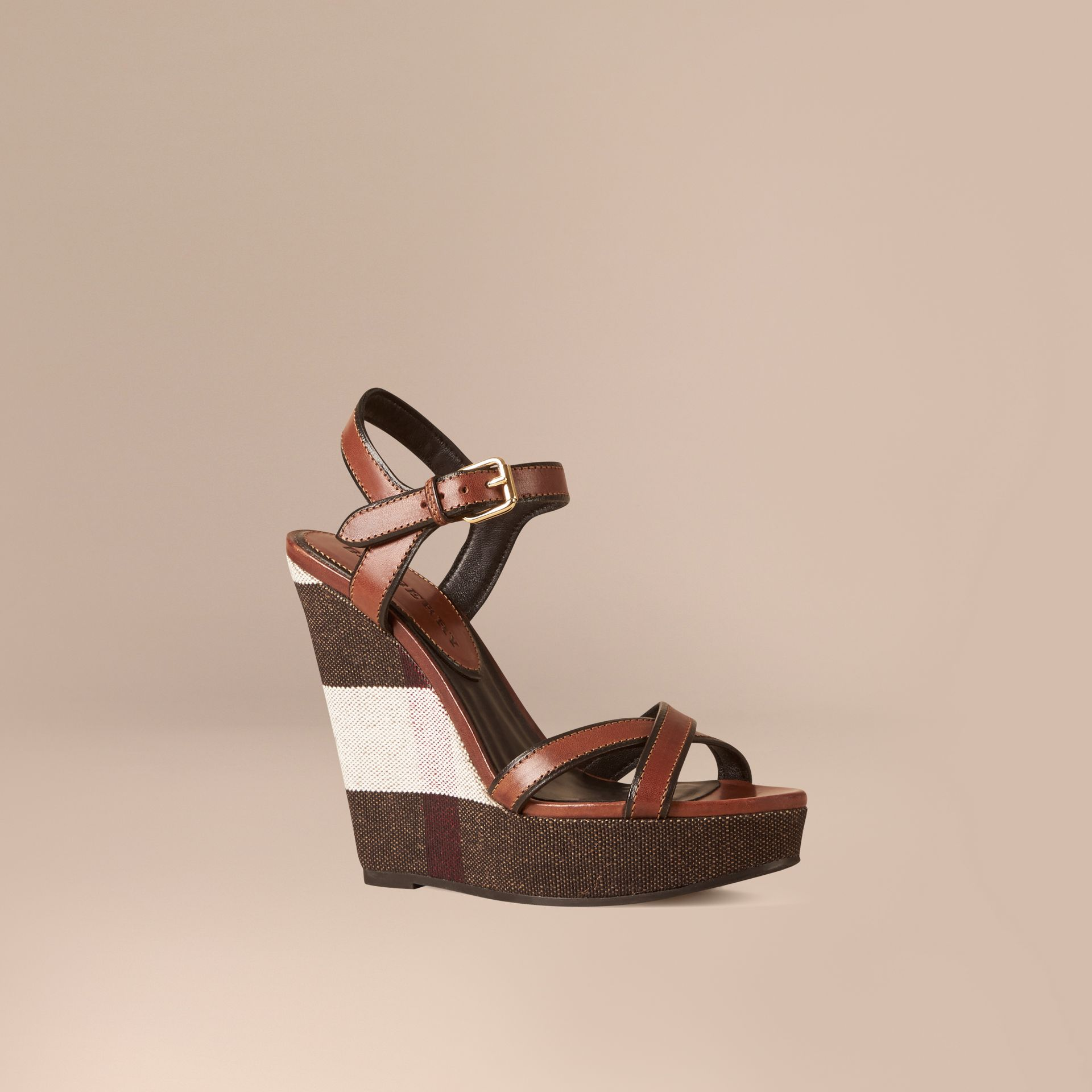 Dark umber brown Canvas Check Leather Platform Wedges Dark Umber Brown - gallery image 1
