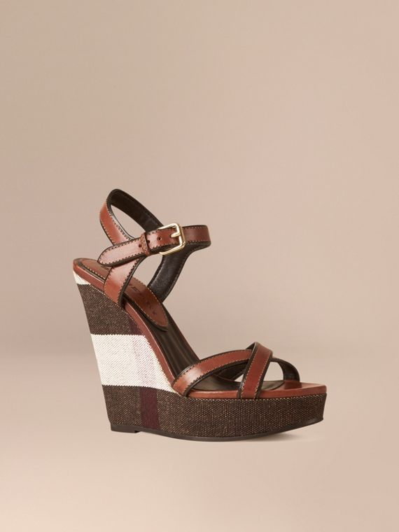 Canvas Check Leather Platform Wedges