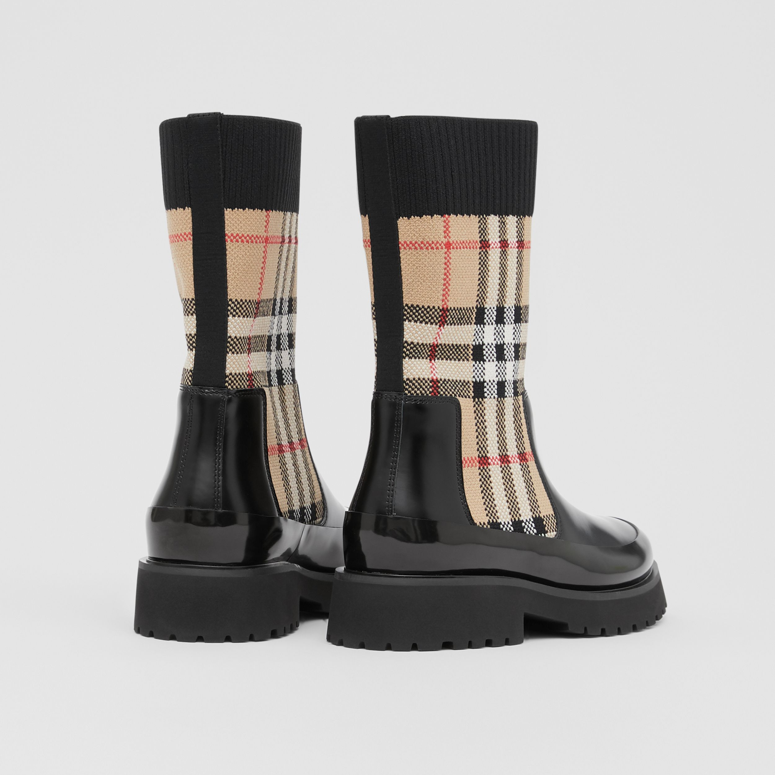 Vintage Check Knit Sock Leather Chelsea Boots in Archive Beige - Children | Burberry - 3