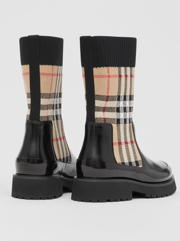 Vintage Check Knit Sock Leather Chelsea Boots in Archive Beige - Children | Burberry - cell image 2