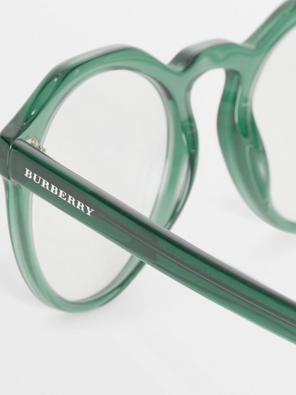 Keyhole Round Optical Frames in Green - Men | Burberry United Kingdom - cell image 1