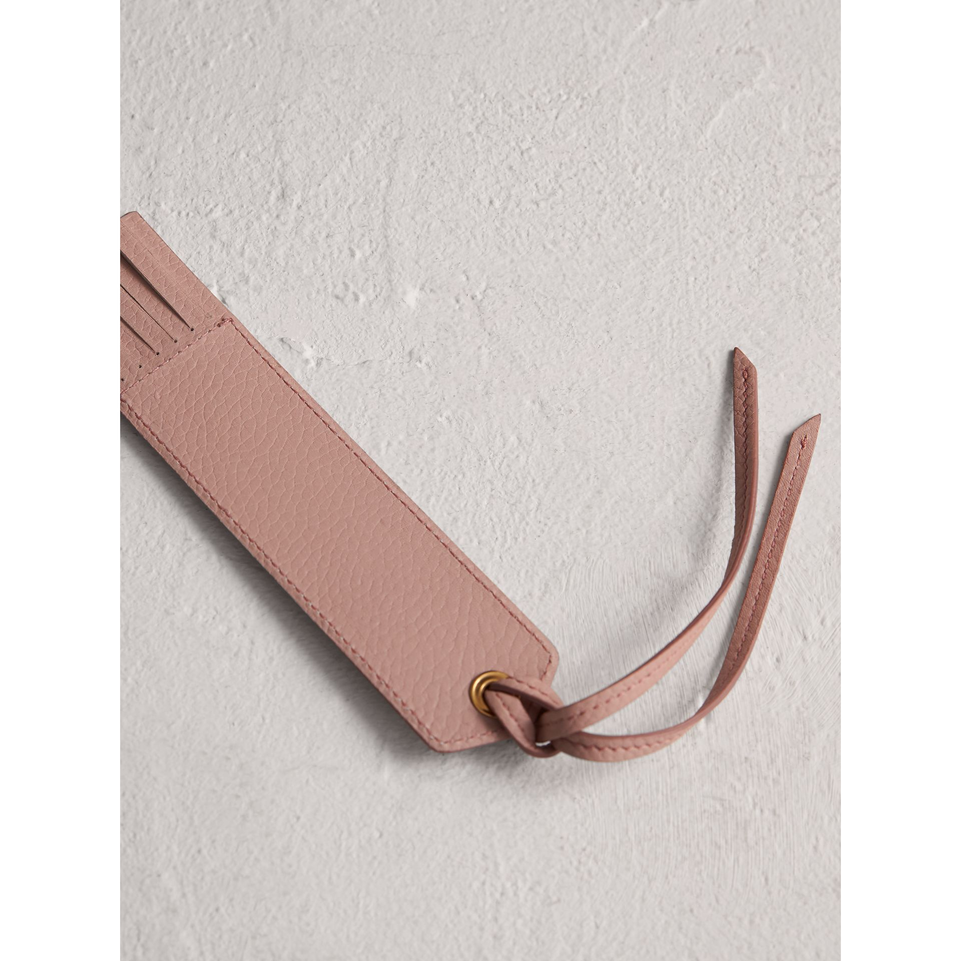 Embossed Leather Bookmark in Pale Ash Rose | Burberry - gallery image 2