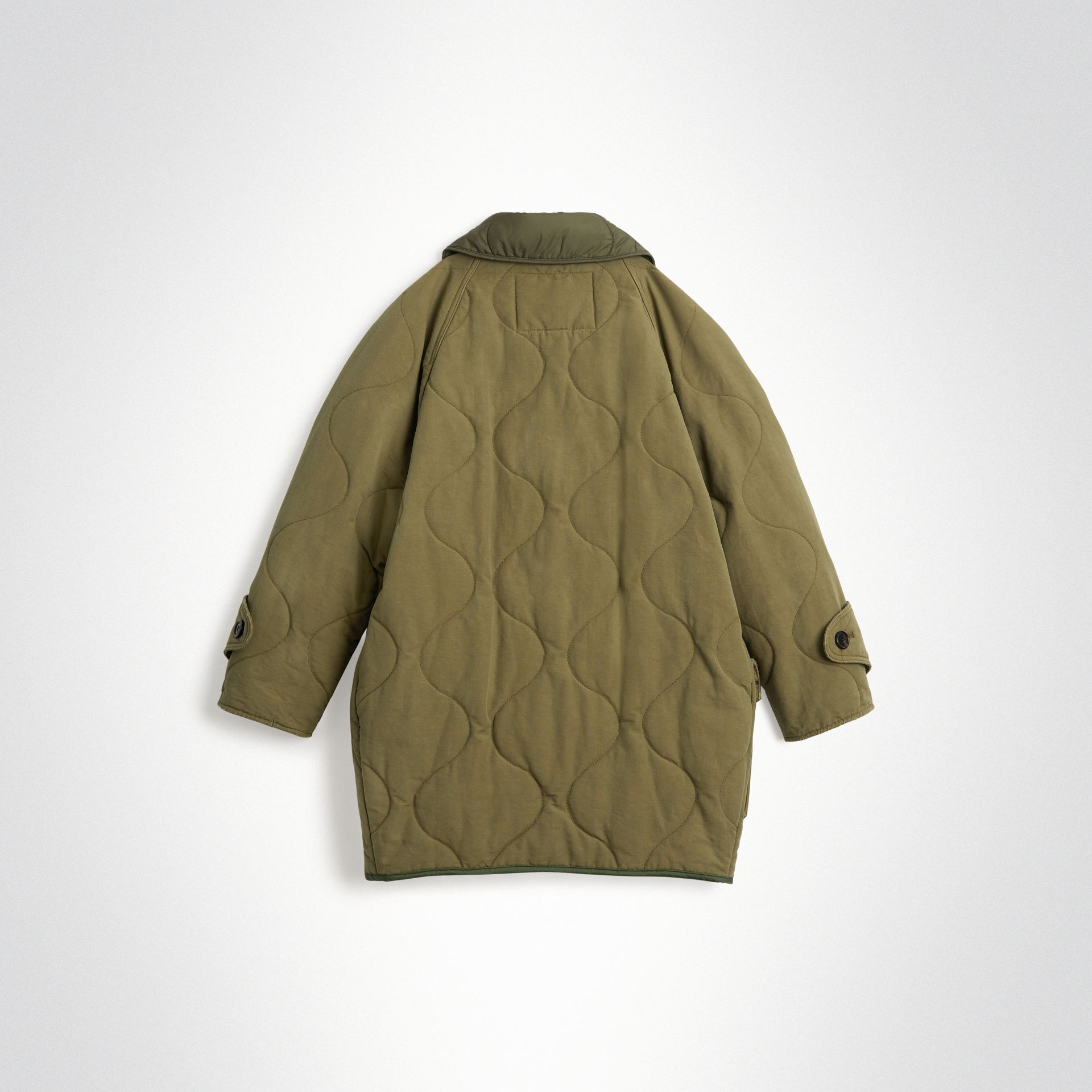 Military Quilted Cotton Coat in Dark Green | Burberry Hong Kong - gallery image 3