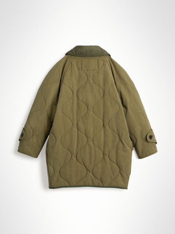 Military Quilted Cotton Coat in Dark Green | Burberry - cell image 3