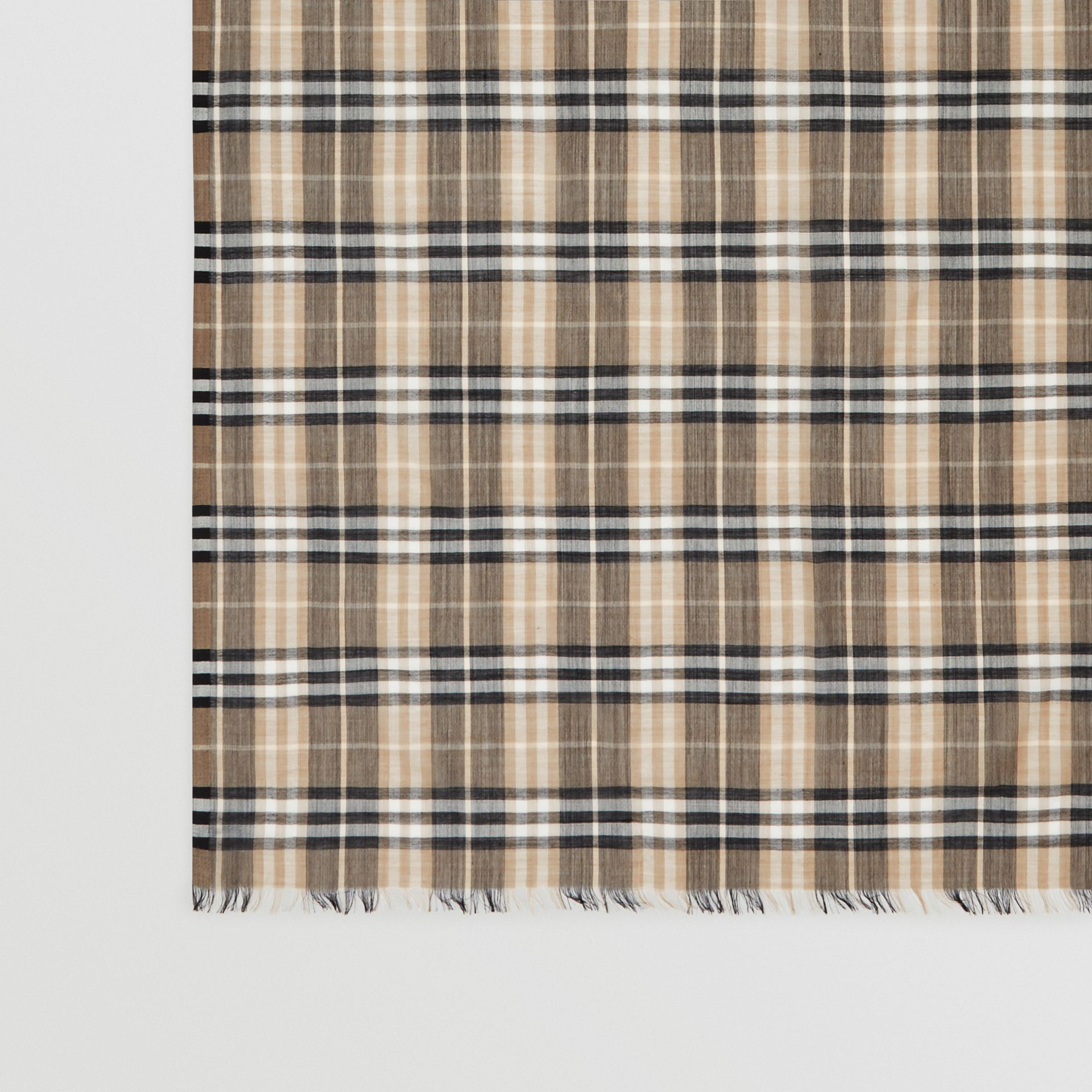 Vintage Check Lightweight Wool Silk Scarf in Pale Honey | Burberry - gallery image 1
