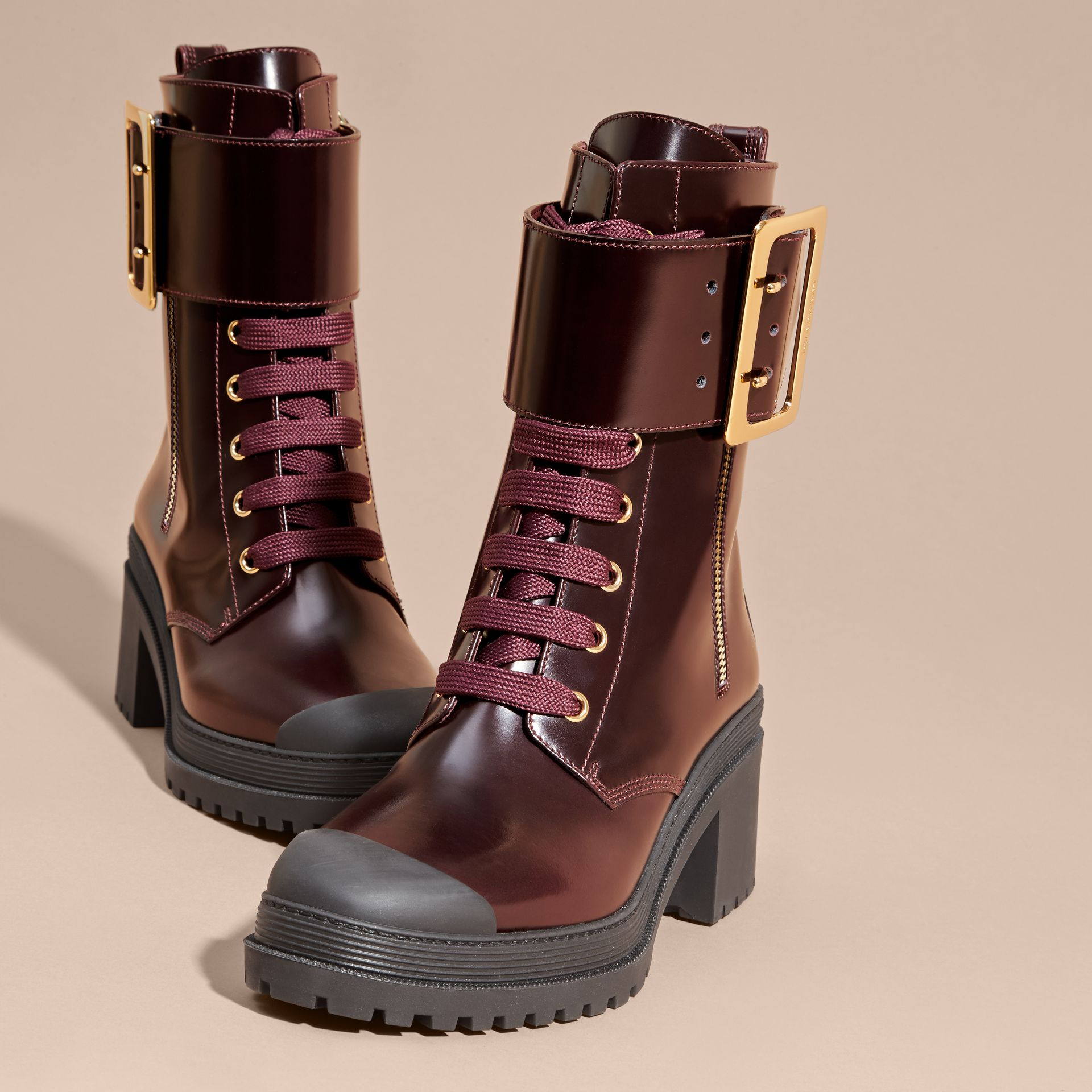 Leather Buckle Detail Boots Bordeaux - gallery image 3