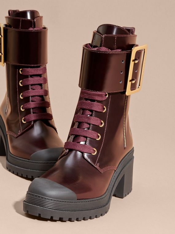 Leather Buckle Detail Boots Bordeaux - cell image 2