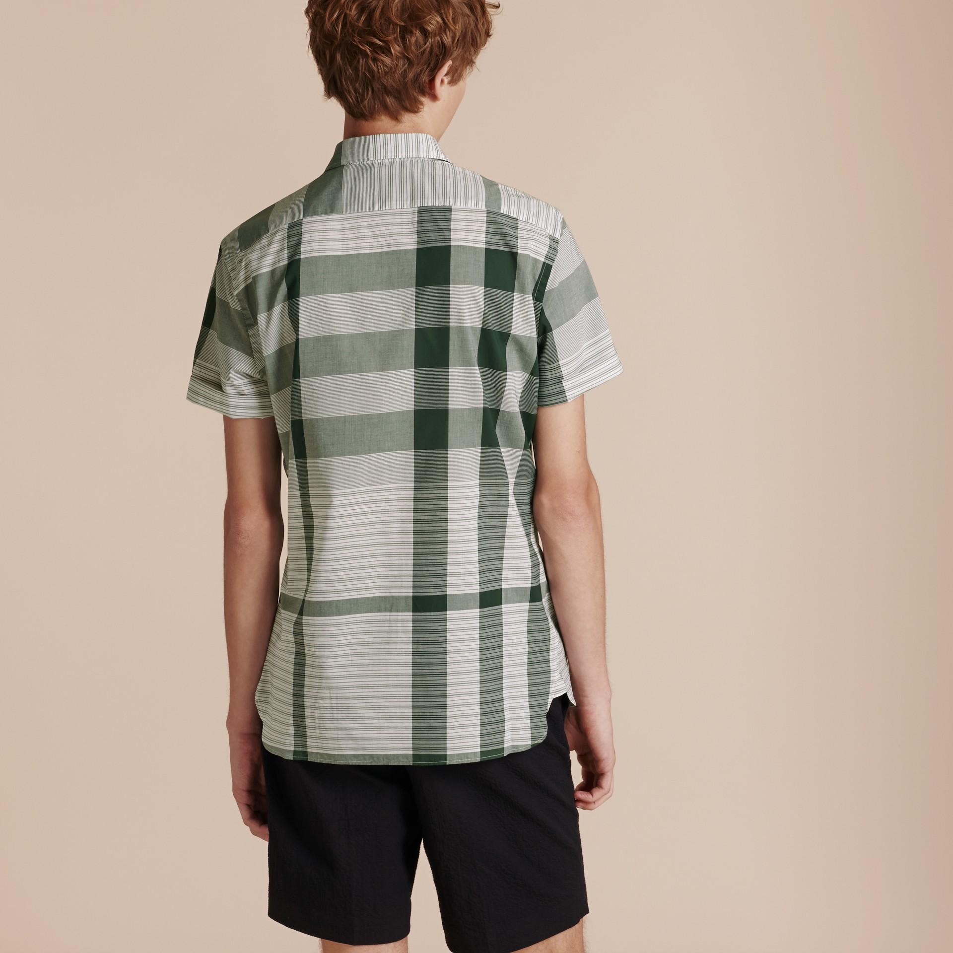 Short-sleeved Tonal Check Cotton Shirt Dark Bottle Green - gallery image 3