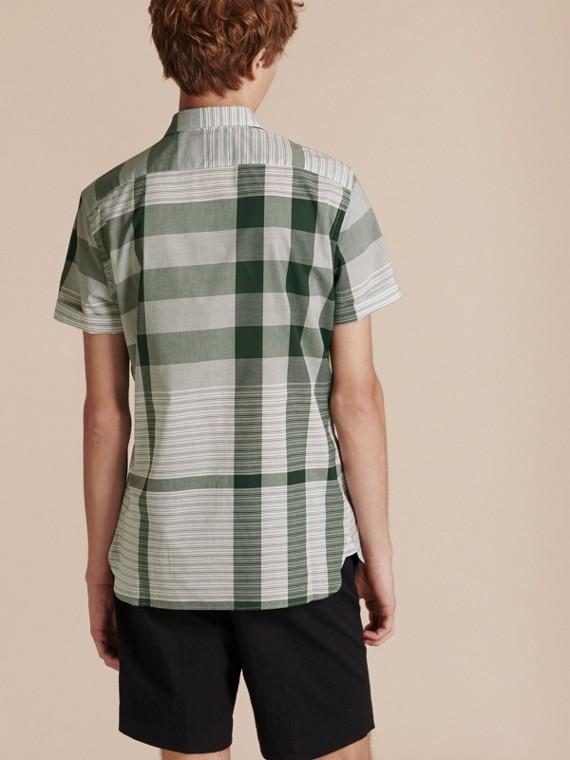 Short-sleeved Tonal Check Cotton Shirt Dark Bottle Green - cell image 2