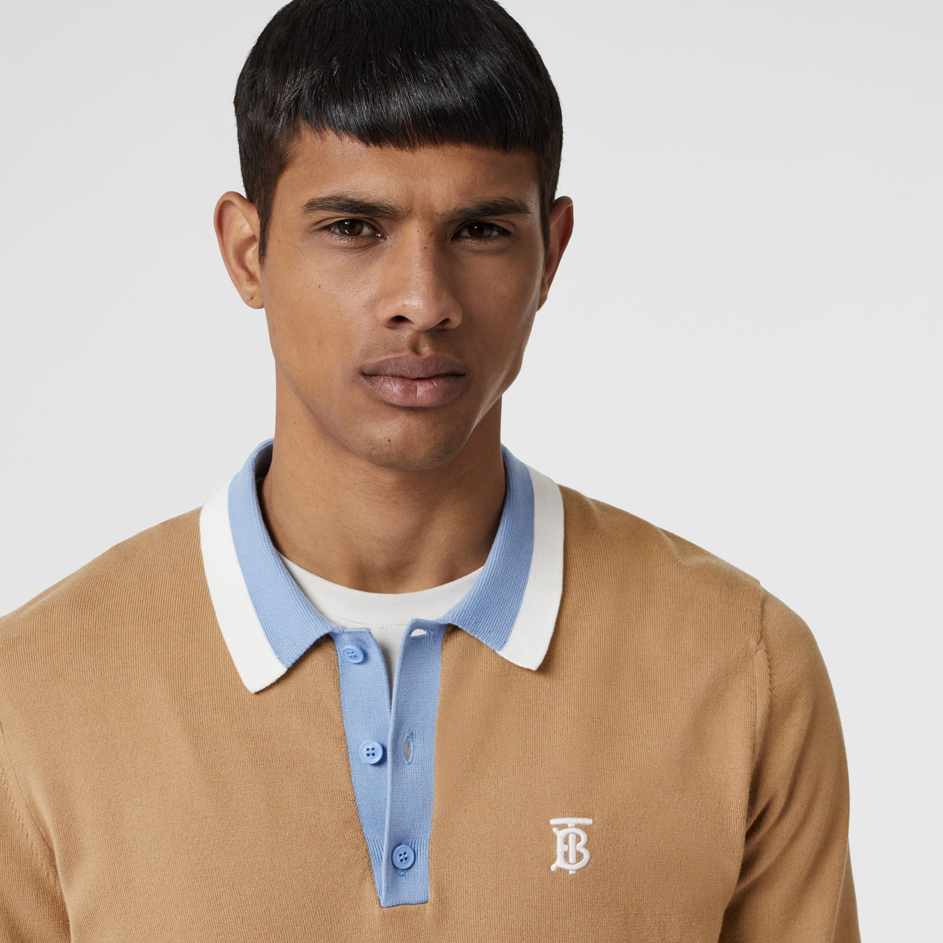 Monogram Motif Tipped Cotton Polo Shirt in Camel - Men | Burberry - gallery image 1