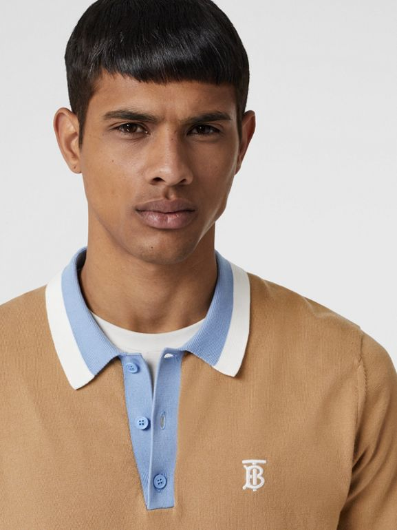 Monogram Motif Tipped Cotton Polo Shirt in Camel - Men | Burberry - cell image 1