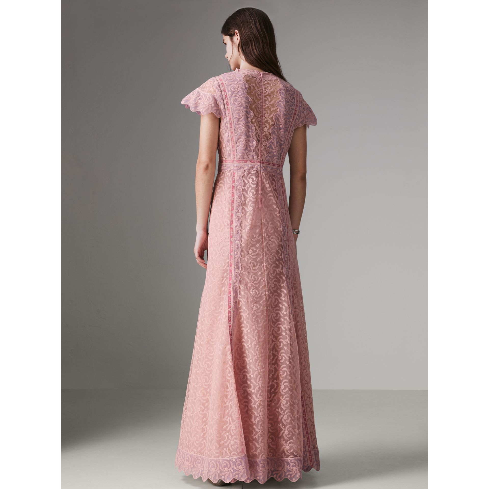 Embroidered Floral Lace and Tulle Dress in Pale Pink - Women | Burberry - gallery image 2