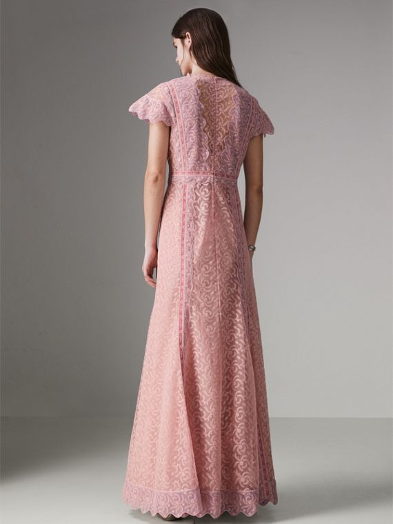 Embroidered Floral Lace and Tulle Dress in Pale Pink - Women | Burberry - cell image 2