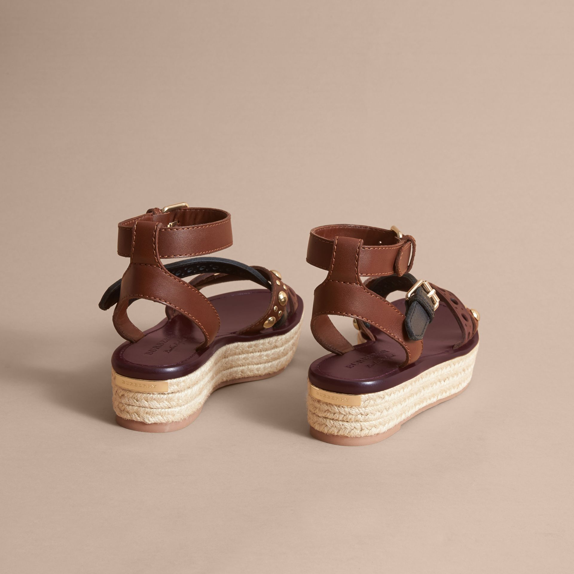 Two-tone Riveted Leather Espadrille Sandals - gallery image 4