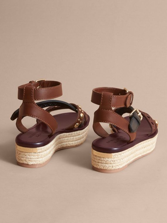 Two-tone Riveted Leather Espadrille Sandals - cell image 3