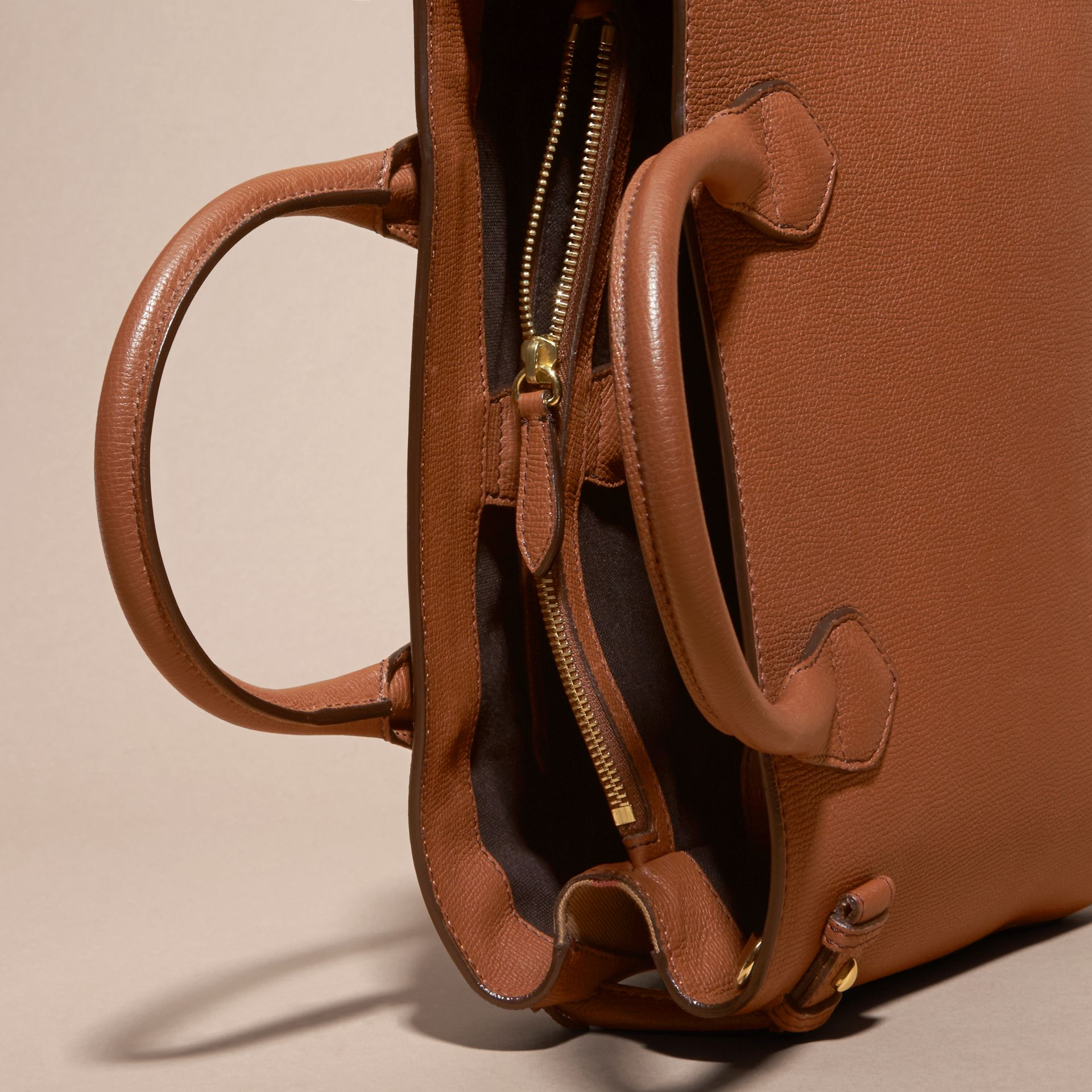 The Medium Banner in Leather and House Check in Tan - Women | Burberry - gallery image 5