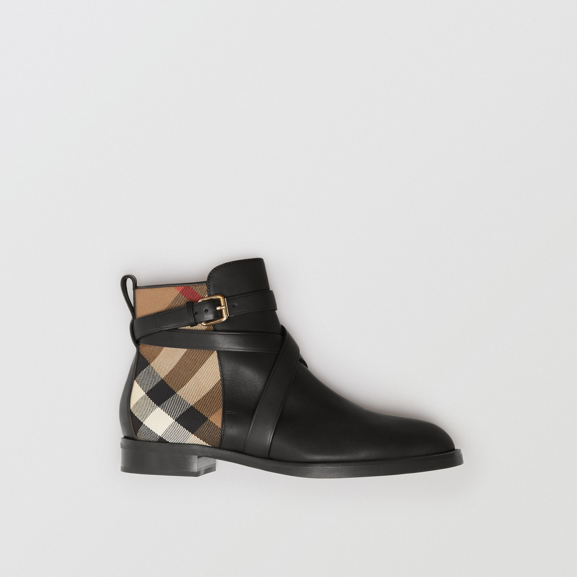 Strap Detail House Check and Leather Ankle Boots in Black - Women | Burberry - gallery image 0