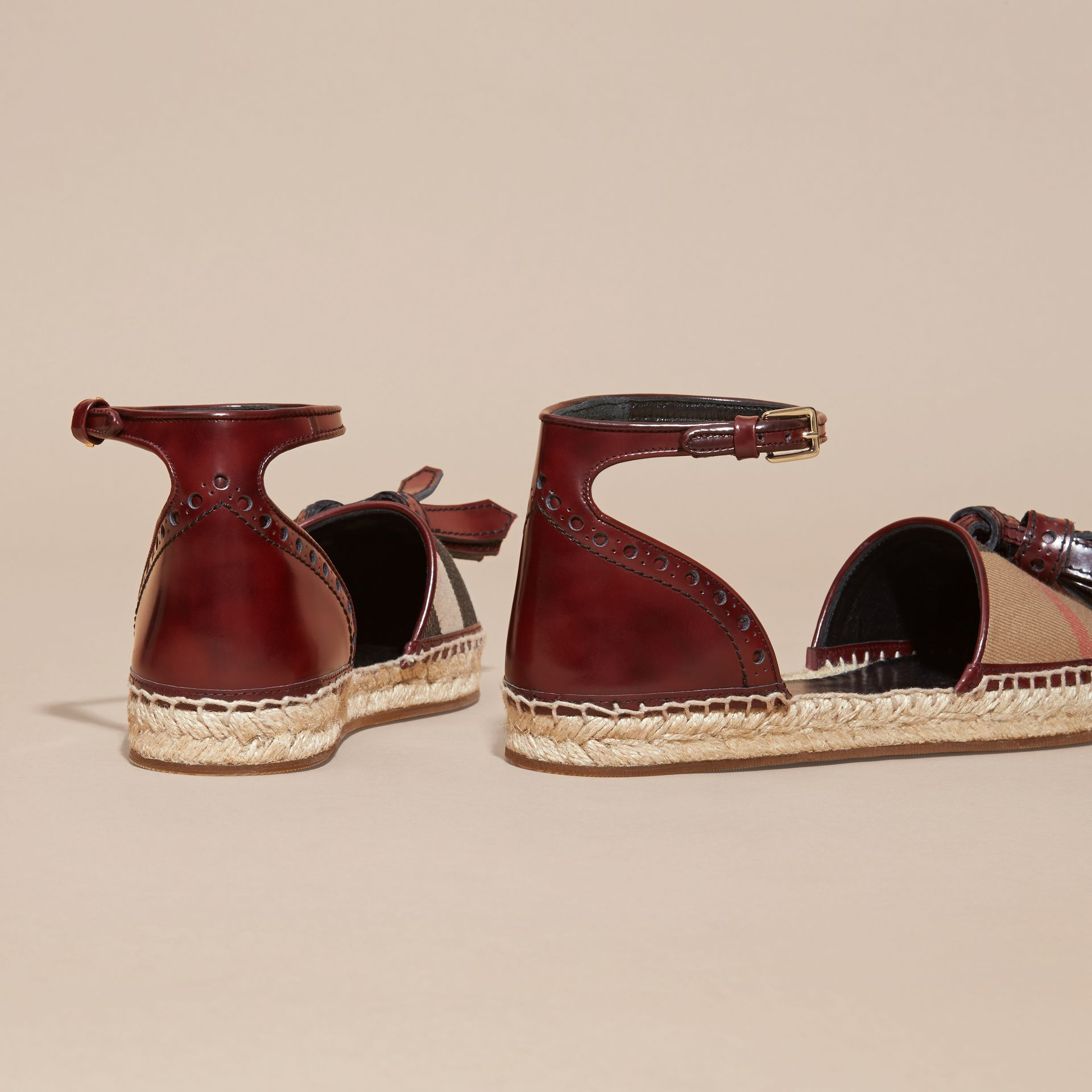 Bordeaux Tasselled Leather and House Check Espadrille Sandals - gallery image 4