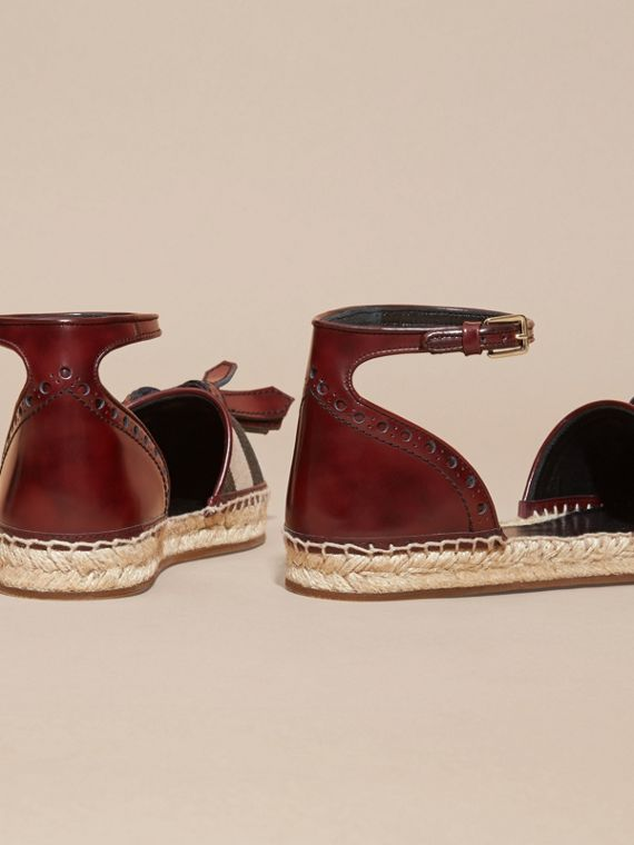 Bordeaux Tasselled Leather and House Check Espadrille Sandals - cell image 3