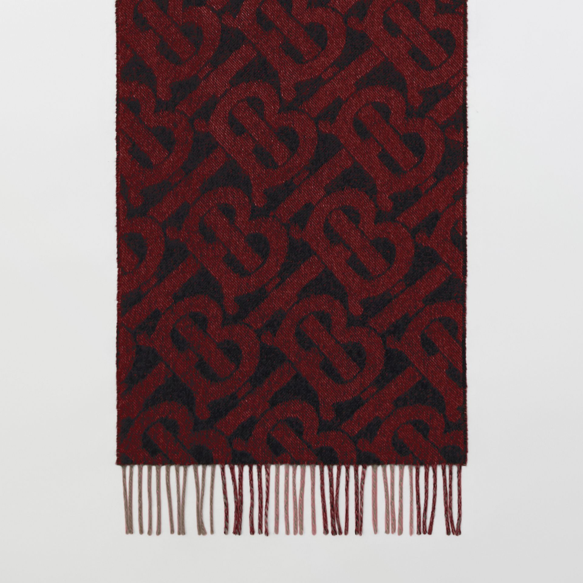 Reversible Check and Monogram Cashmere Scarf in Bright Red | Burberry - gallery image 4