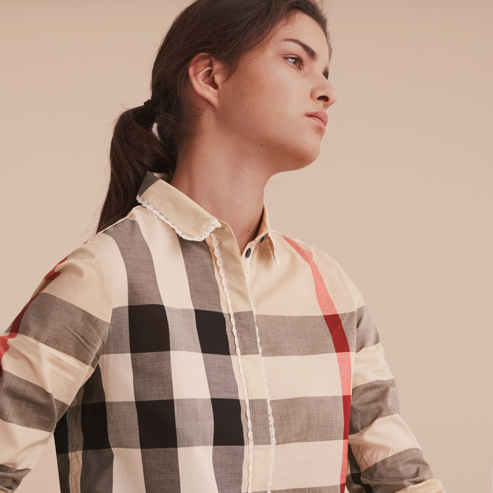 Lace Trim Check Cotton Shirt in New Classic - Women | Burberry - gallery image 5