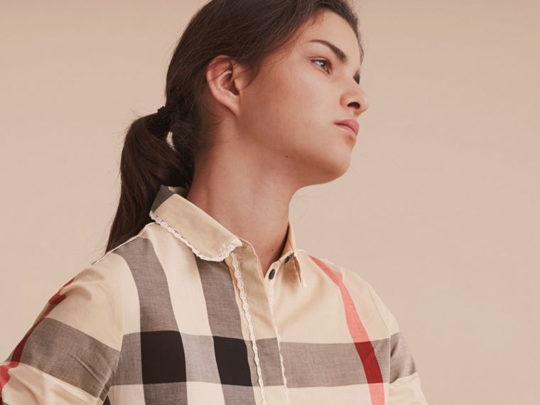 Lace Trim Check Cotton Shirt in New Classic - Women | Burberry - cell image 4