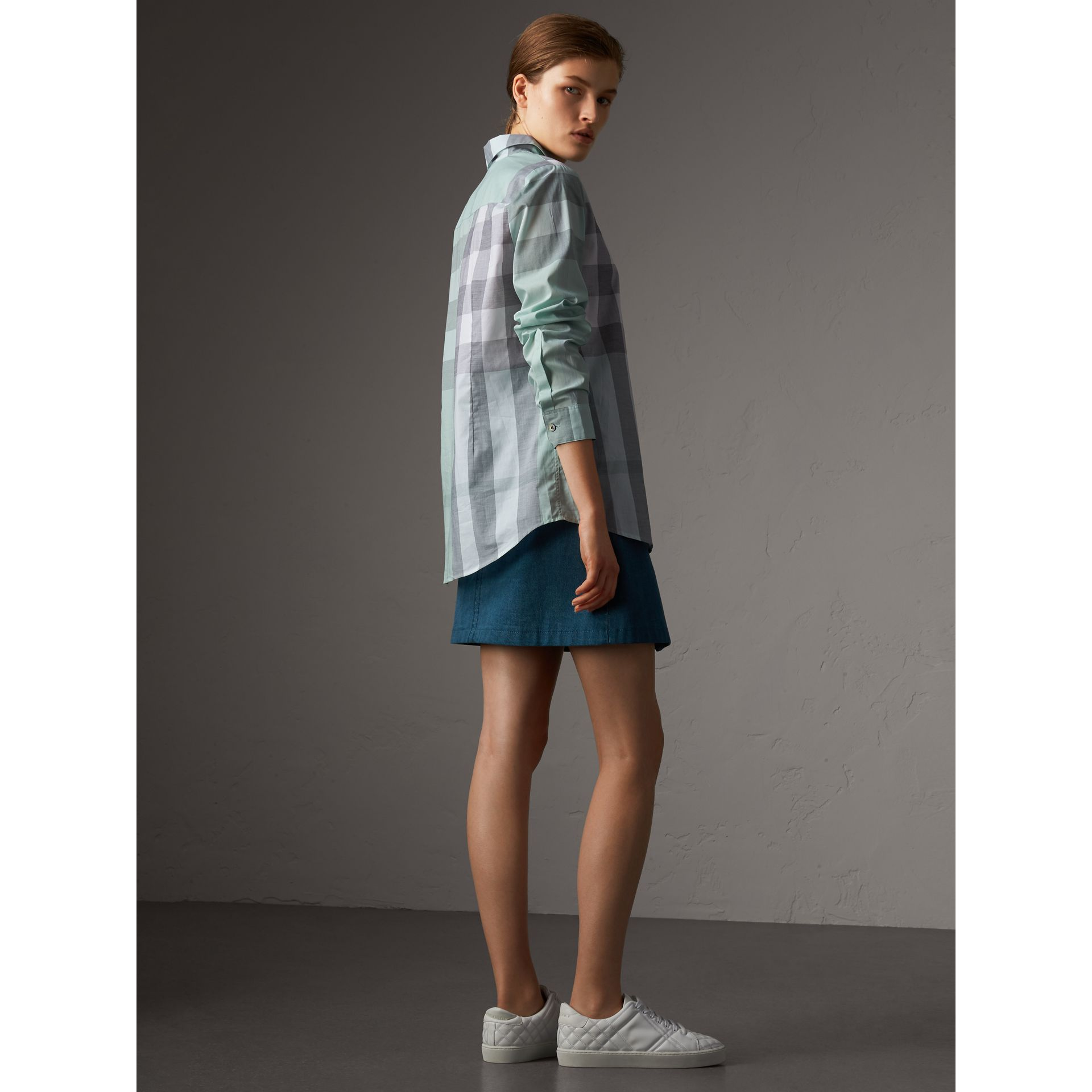 Check Cotton Shirt in Pale Opal - Women | Burberry Australia - gallery image 3