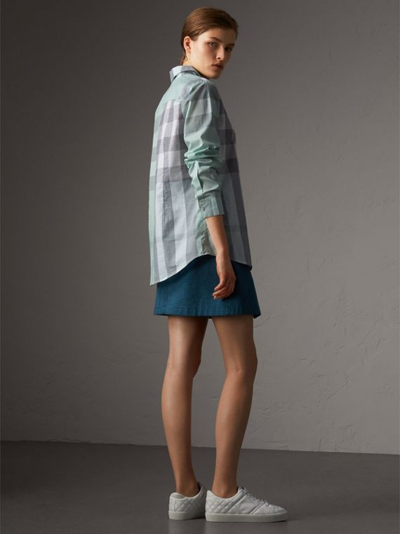 Check Cotton Shirt in Pale Opal - Women | Burberry Australia - cell image 2