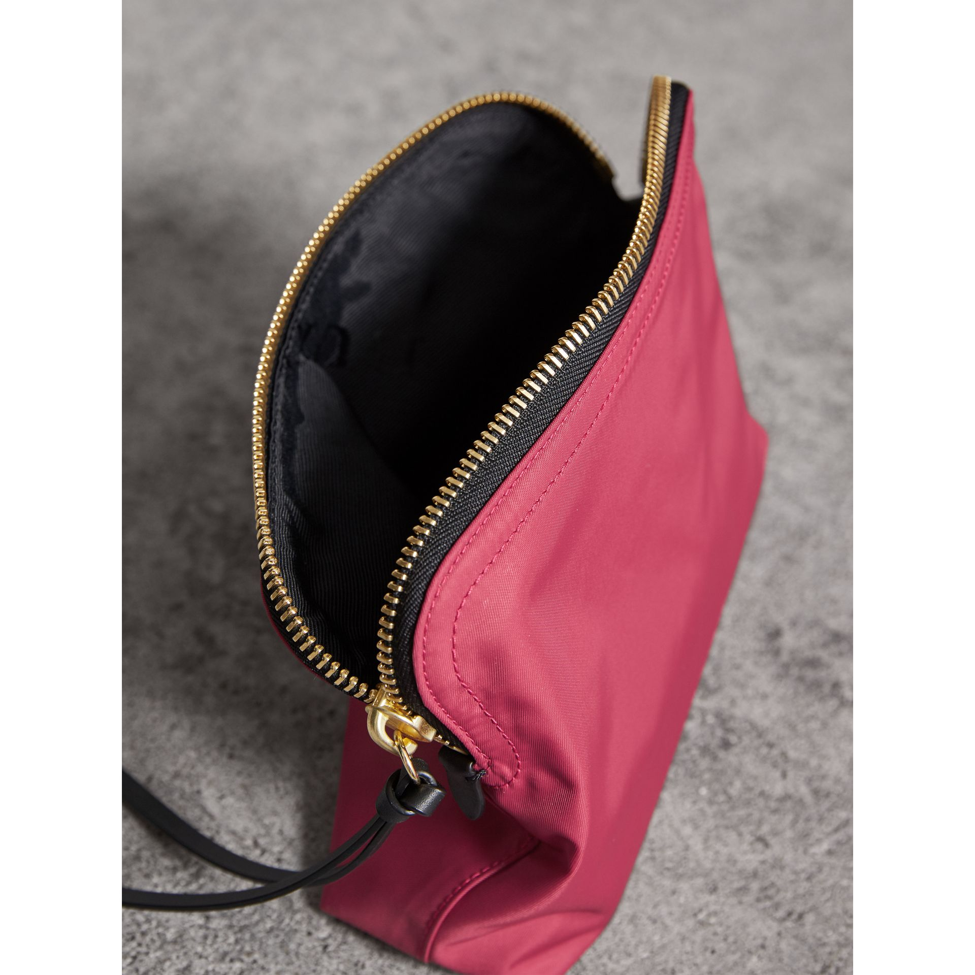 Large Zip-top Technical Nylon Pouch in Plum Pink - Women | Burberry - gallery image 4