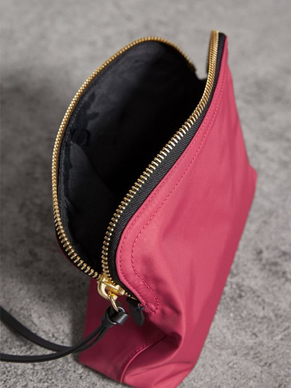 Large Zip-top Technical Nylon Pouch in Plum Pink - Women | Burberry Australia - cell image 3