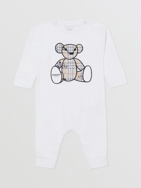 Thomas Bear Appliqué Cotton Jumpsuit in White