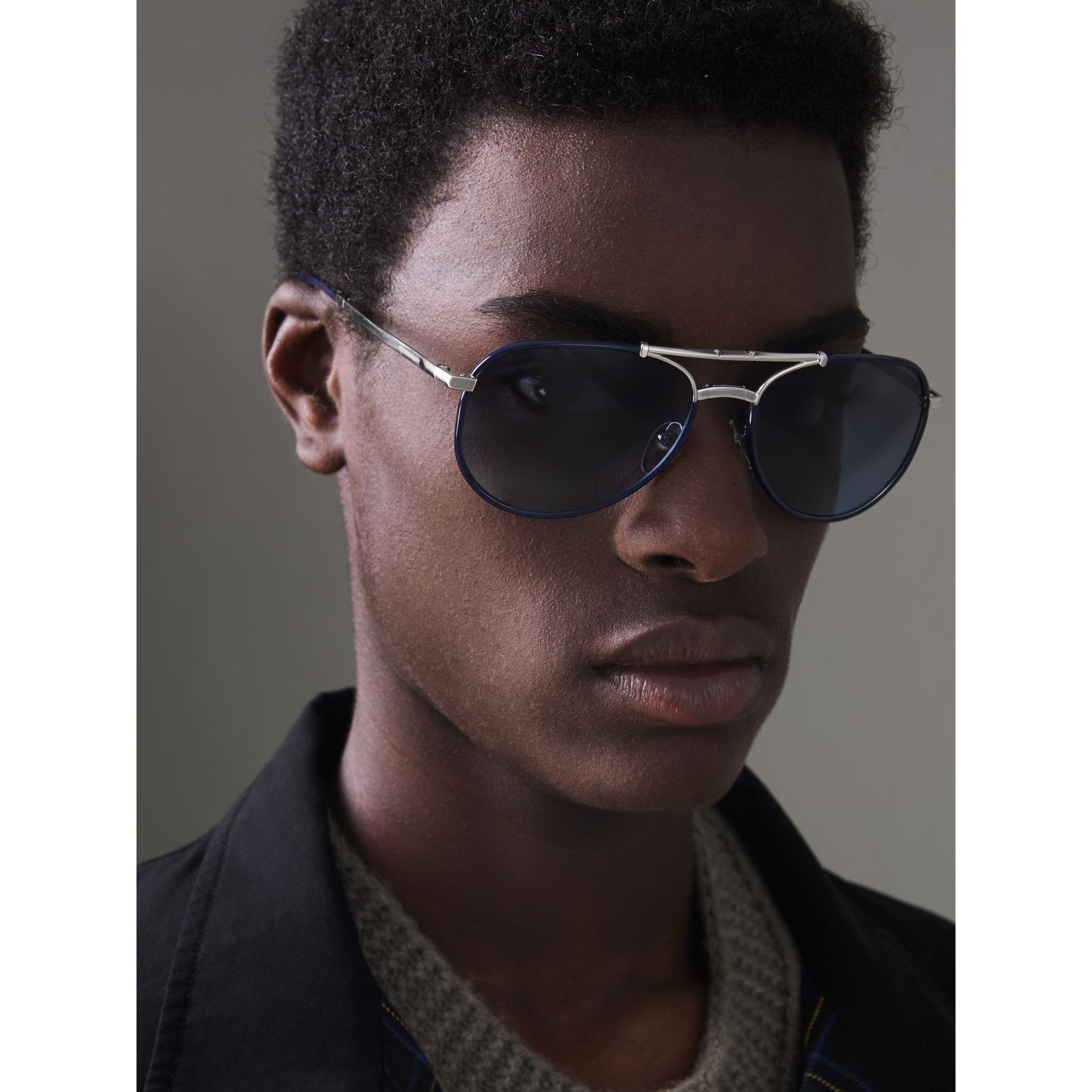Folding Pilot Sunglasses in Navy - Men | Burberry Australia - gallery image 2