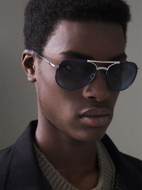 Folding Pilot Sunglasses in Navy - Men | Burberry Canada - cell image 2