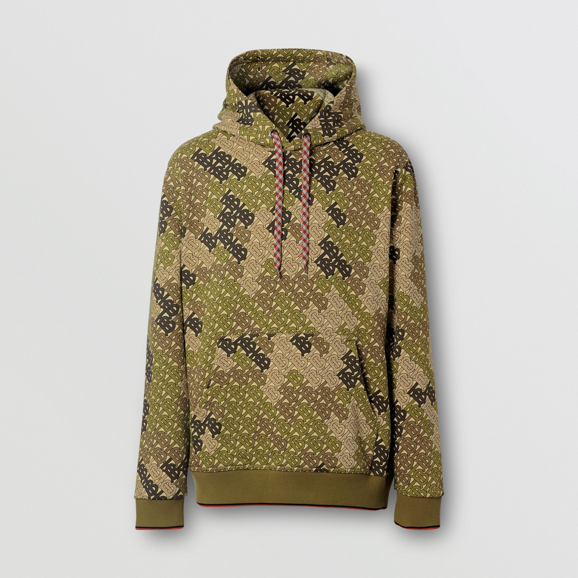 Monogram Print Cotton Hoodie in Khaki Green - Men | Burberry - gallery image 3