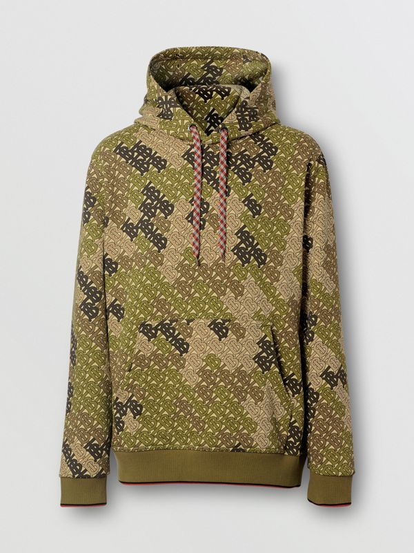 Monogram Print Cotton Hoodie in Khaki Green - Men | Burberry - cell image 3