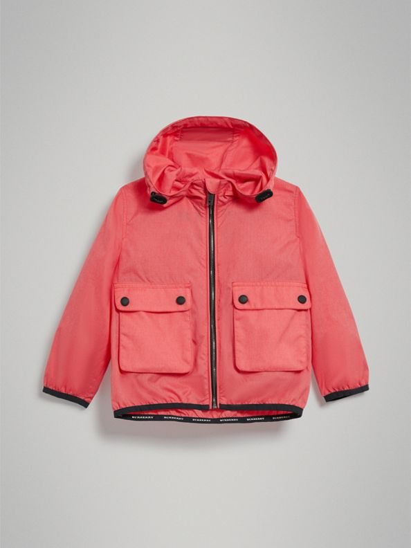 Showerproof Hooded Jacket in Bright Coral Pink