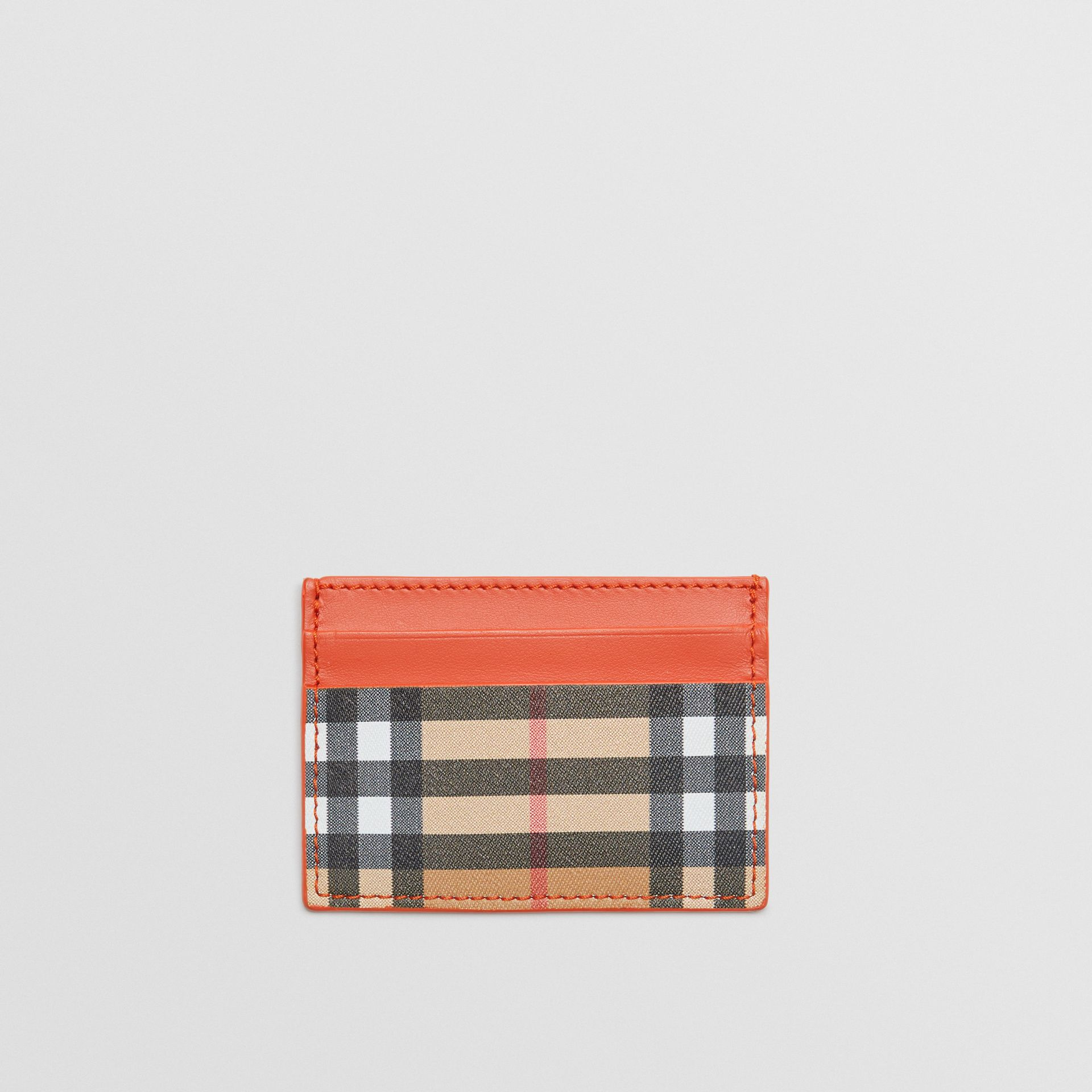 Vintage Check and Leather Card Case in Clementine - Women | Burberry - gallery image 0
