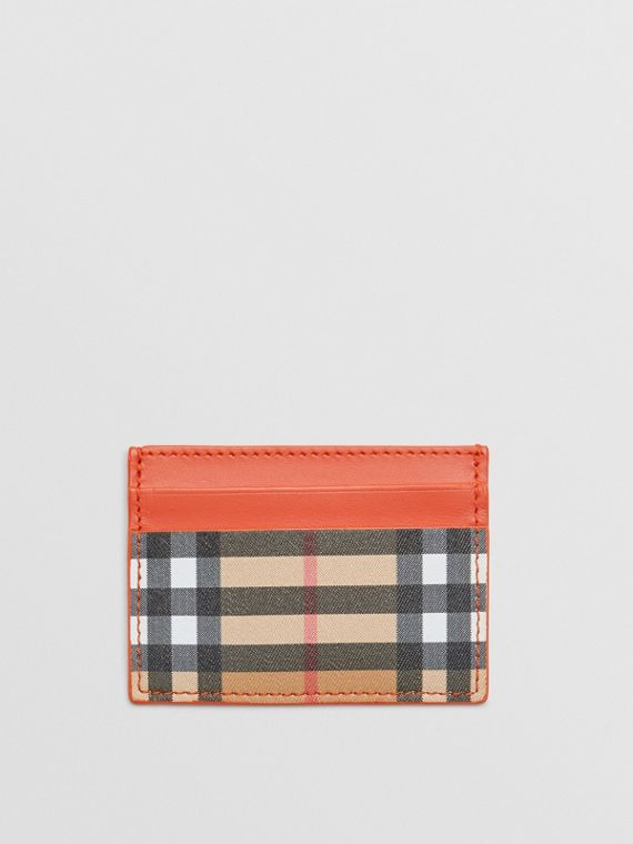 Vintage Check and Leather Card Case in Clementine