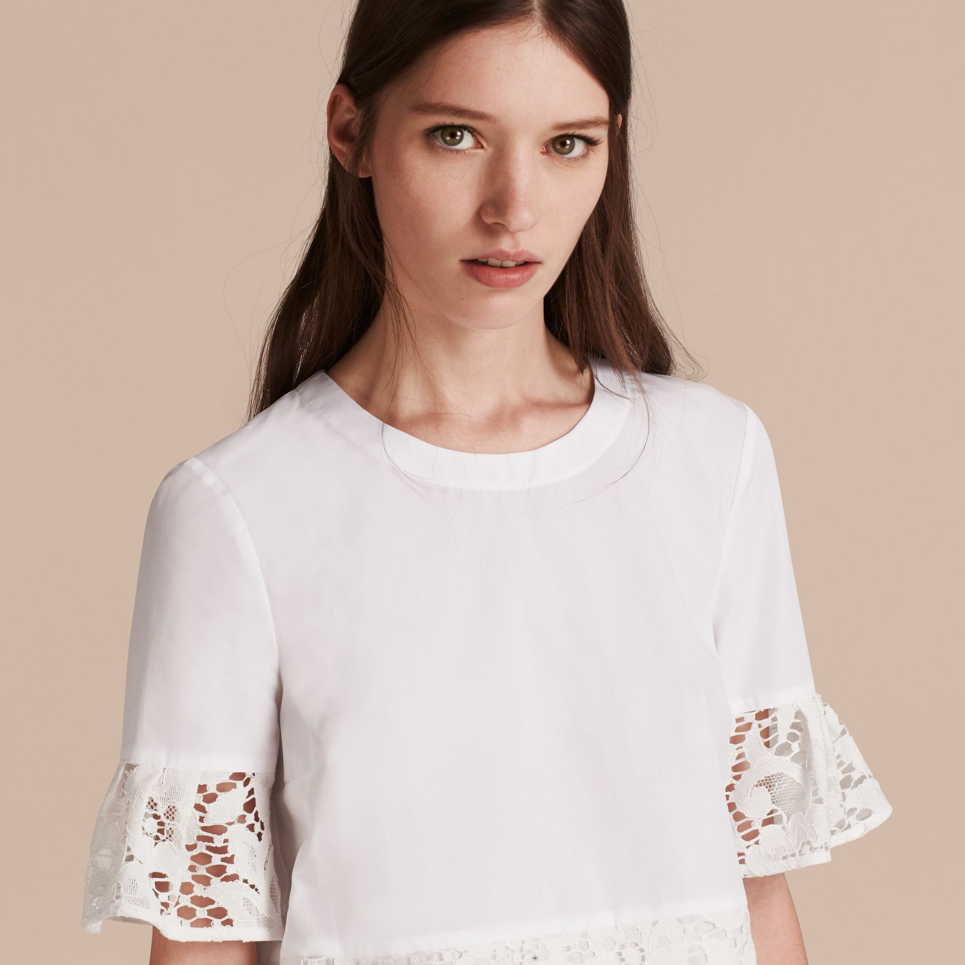 White Lace Detail Cotton T-shirt - gallery image 5