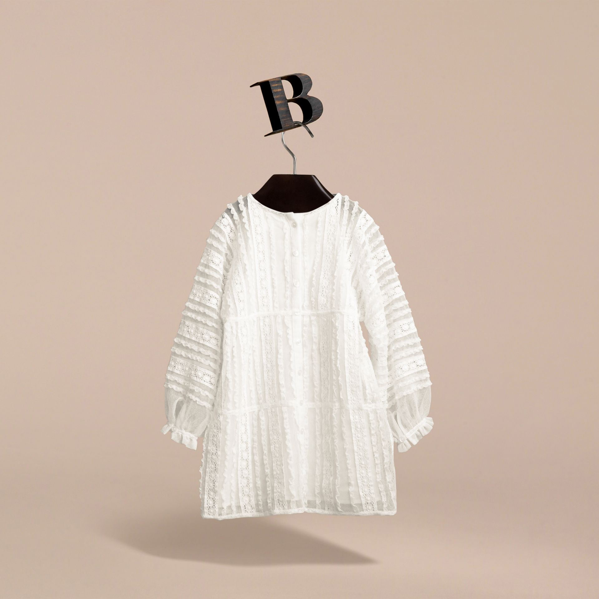 Lace Trim Cotton Dress in White | Burberry - gallery image 3